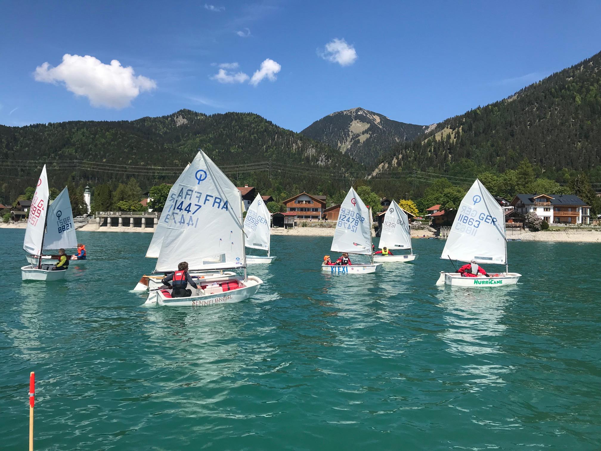 Trainingswochenende der Optimisten am Walchensee